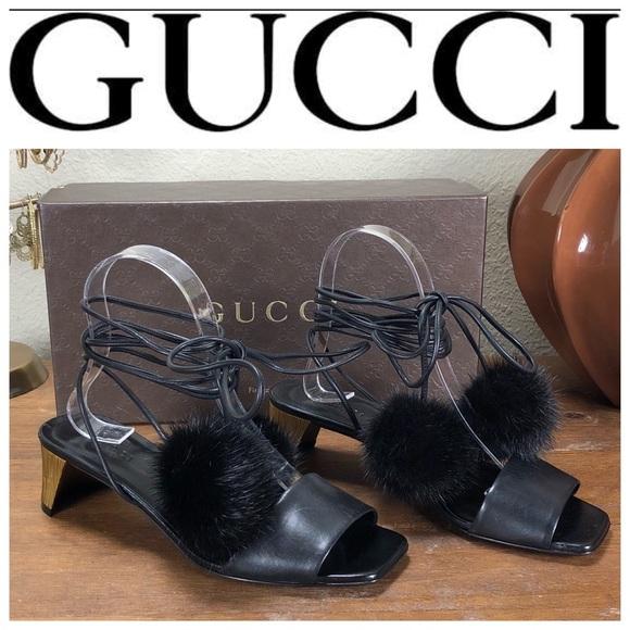 fb4ed26aa0b74b NWT Gucci Black Leather Betis Glamour Sandals